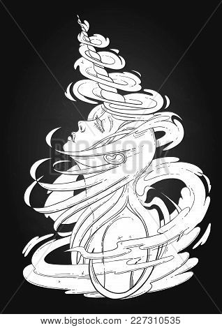 Graphic Unicorn Girl With Long Hairs Surrounded By Magic. Vector Fantasy Art. Coloring Book Page For