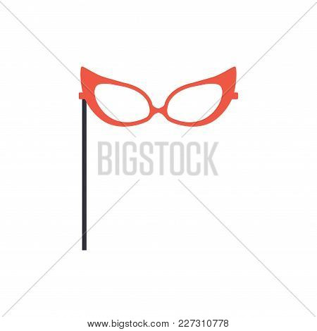 Red Glasses, Party Or Masquerade Decorative Element Cartoon Vector Illustration Isolated On A White