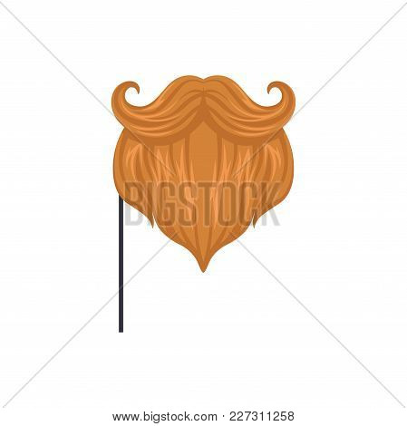 Red Mustaches And Beard, Masquerade Decorative Element Cartoon Vector Illustration Isolated On A Whi