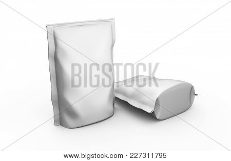 Blank Foil Plastic White Coffee Bag Isolated On White Background. Packaging Template Mockup Collecti
