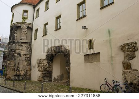 Regensburg, Germany - September 04, 2010: Exterior The Remains Of The East Tower Of Porta Praetoria