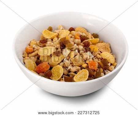 Tasty Bowl Corn Flakes Background Close-up Isolated