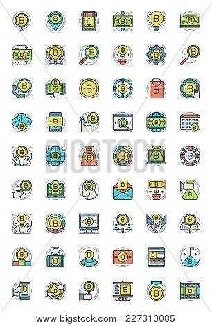 Bitcoin Icons Set Flat Line Stroke Vector Illustration. For Website Graphics, Mobile Application, In