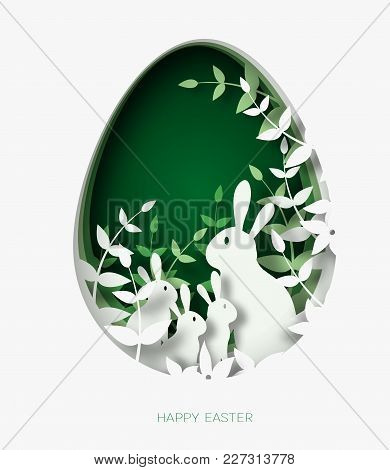 3d Abstract Paper Cut Illustration Of Colorful Paper Art Easter Rabbit Family, Grass, Flowers And Gr