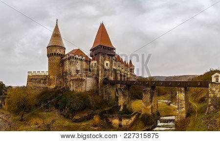 Landscape With The Corvin Castle In Romania