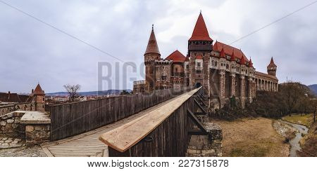 Landscape With The Corvin Castle In Romania