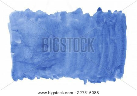 Abstract Texture Brush Ink Background Blue Aquarell Watercolor Splash Hand Paint On White Background
