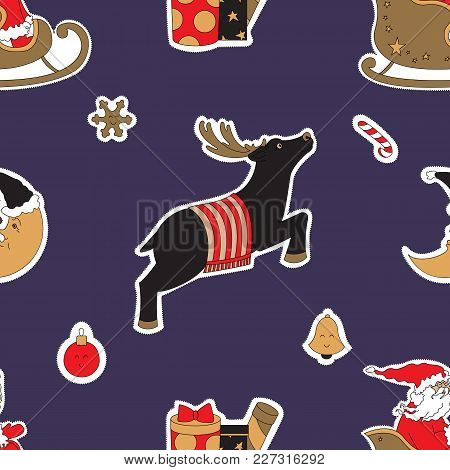 Christmas Deer. Gifts And Moon Vector Illustration. Seamless Pattern Background.