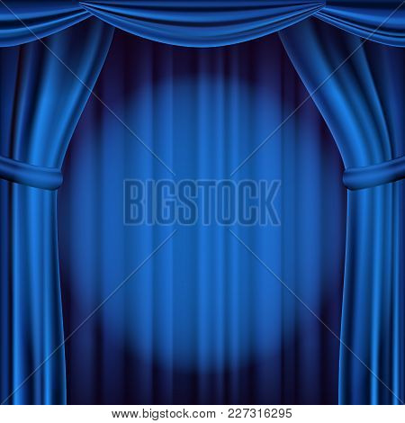 Blue Theater Curtain Vector. Theater, Opera Or Cinema Empty Silk Stage, Blue Scene. Realistic Illust