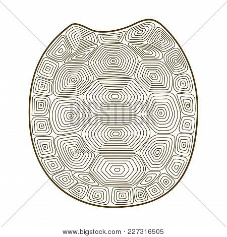 Carapace Turtle Zen Tangle Vector Illustration. Coloring Book For Adult With Shell Tortoise. Contour