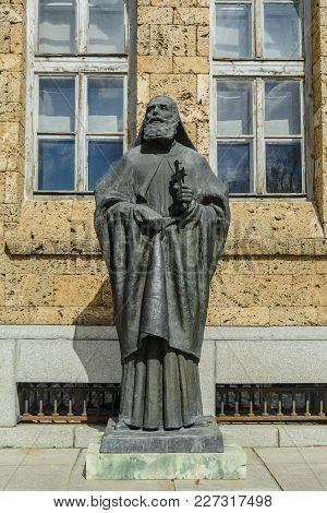 Veliko Tarnovo, Bulgaria, 03 April, 2015: Euthymius Of Tarnovo Statue, Saint Euthymius Of Tarnovo Wa