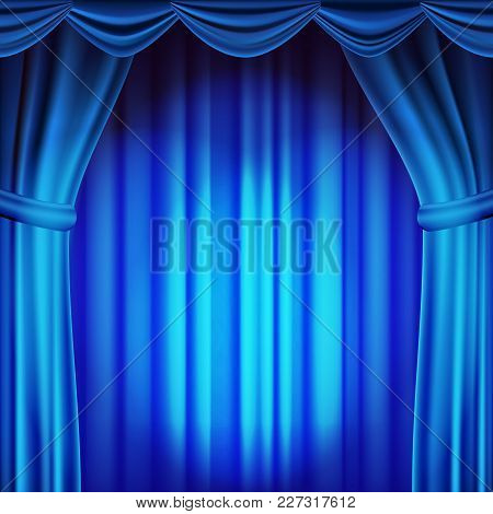 Blue Theater Curtain Vector. Theater, Opera Or Cinema Scene. Realistic Illustration