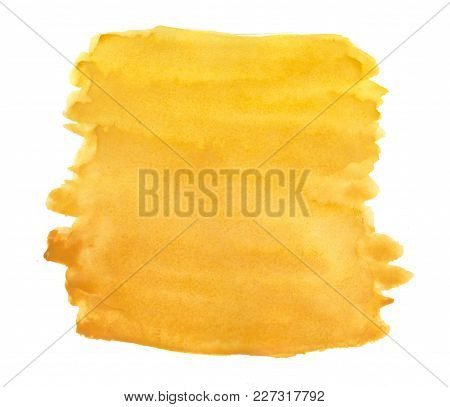 Abstract Ink Yellow Aquarell Watercolor Splash Hand Paint On White Background