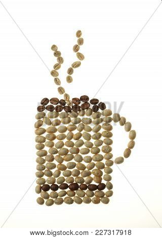 Coffee Mug And Smoke Made Of Beans Isolated On White