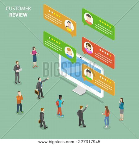 Customer Review Flat Isometric Vector Concept. Speech Bubbles With Customer Comments Are Popping Out