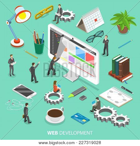 Web Development Flat Isometric Vector Concept. People Are Taking Off The Web Page That Looks Like Pa