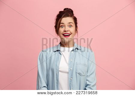 Delight. Beautiful Female Half-length Front Portrait Isolated On Pink Studio Backgroud. Young, Emoti