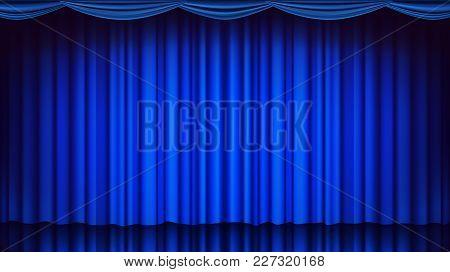 Blue Theater Curtain Vector. Theater, Opera Or Cinema Closed Scene. Realistic Blue Drapes Illustrati