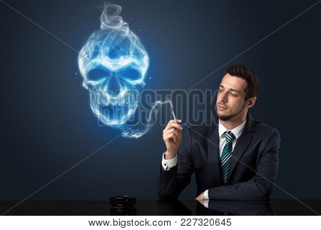 Businessman smoking with skull simbol above his head.