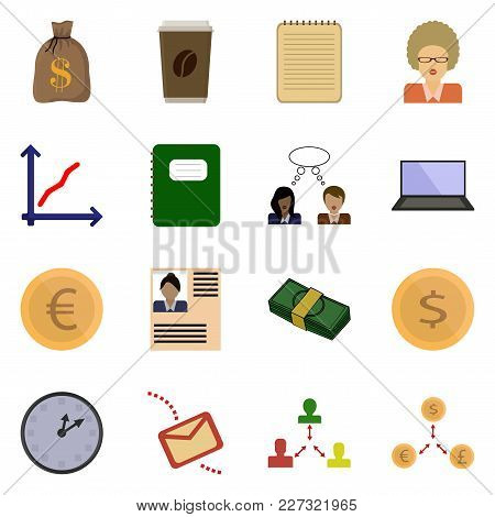 Icon Set Revenue. Vector Button. Business Symbol.