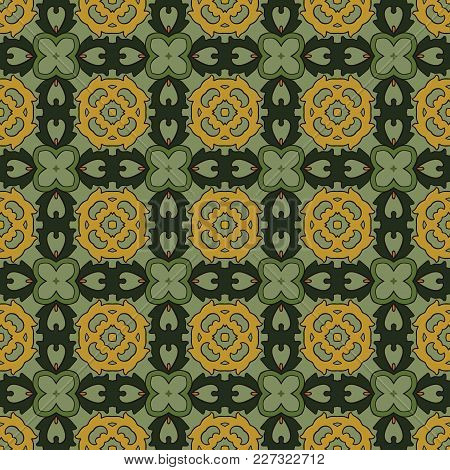 Seamless Illustrated Pattern Made Of Abstract Elements In Yellow, Pink And Shades Of Green