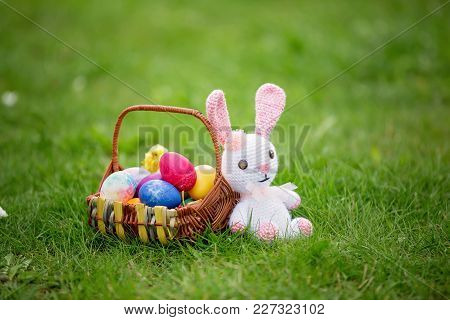 Little Teddy Bear Toy And A Basket Of Eggs Colored For Easter Holiday