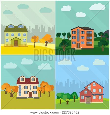Set Of Four Lonely Houses In The Nature. Vector Illustration.
