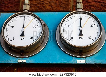 Pressure Gauge In A Factory, Warning Device To Prevent Catastrophe