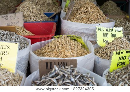Perak, Malaysia - 14 January 2017 : Various Type Of Dried Anchovy For Sale At Local Store In Lumut.