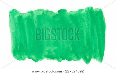 Abstract Ink Green Aquarel Watercolor Splash Hand Paint On White Background