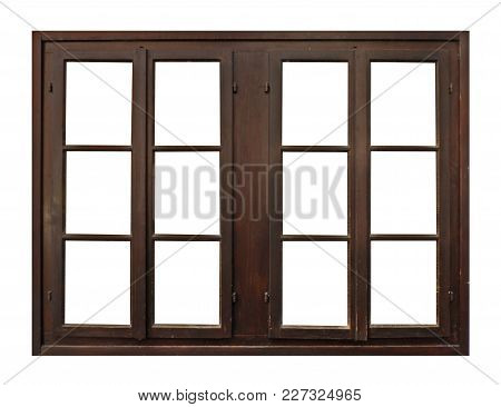 Old Brown Wooden Window Isolated On White Background