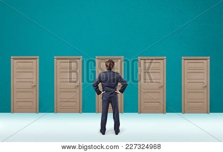 Business Man Businessman Door Choosing Back View Background