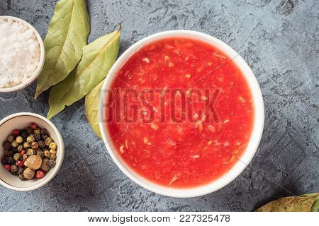 Tomato Sauce, Bay Leaf, Salt, Pepper, Peas - Ingredients And Spices For Cooking Borsch Soup  Food Co