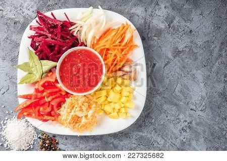 Vegetables, Beets, Carrots, Potatoes, Sweet Peppers, Onion, Garlic, Sauerkraut, Tomato Sauce, Bay Le