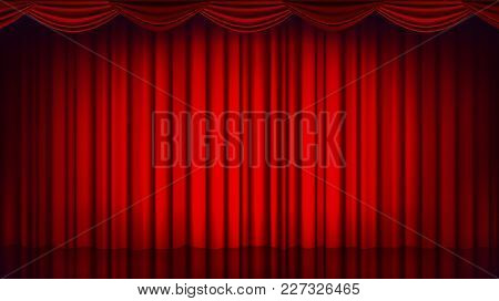 Red Theater Curtain Vector. Theater, Opera Or Cinema Closed Scene. Realistic Red Drapes Illustration