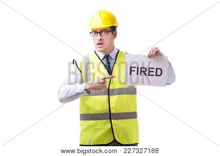 Construction supervisor in dismissal concept isolated on white b