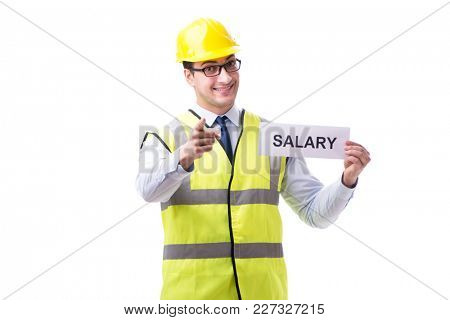 Construction supervisor asking for higher salary isolated on whi