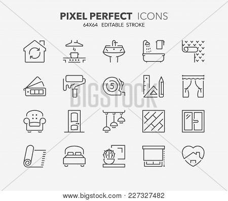 Thin Line Icons Set Of Decoration And Interior Design. Outline Symbol Collection. Editable Vector St