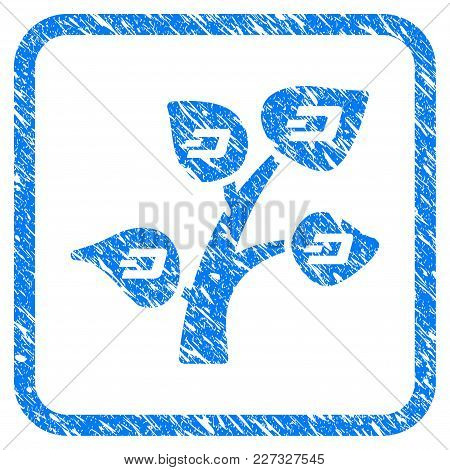 Dash Tree Rubber Seal Stamp Watermark. Icon Vector Symbol With Grunge Design And Corrosion Texture I