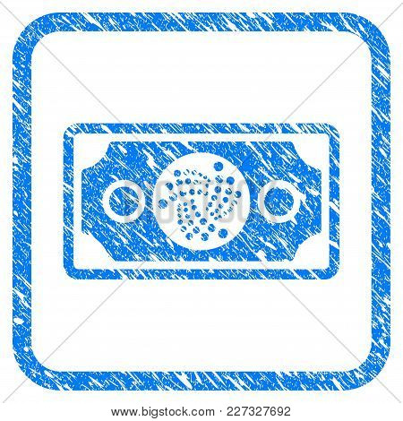 Iota Banknote Rubber Seal Stamp Imitation. Icon Vector Symbol With Grunge Design And Dust Texture In