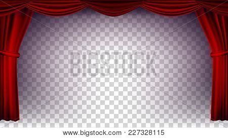 Red Theater Curtain Vector. Transparent Background. Poster For Concert, Party, Theater, Dance Templa