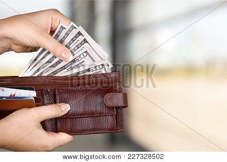Woman Taking Bills Us Dollar Us Dollar Background