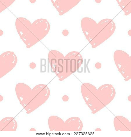 Tile Vector Pattern With Pink Hearts And Dots On White Background