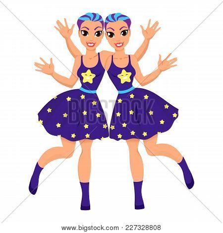 Gemini Astrological Sign. Horoscope. Gemini Zodiac Symbol As Beautiful Girls. Illustration With The