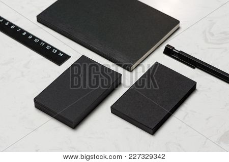 Corporate Stationery Branding Mock-up With Business Card Blank