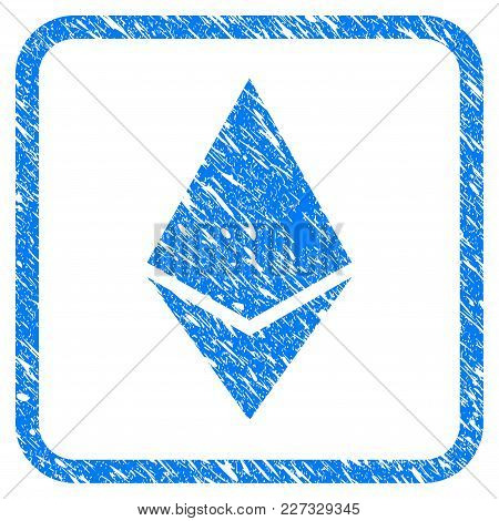 Ethereum Lite Rubber Seal Stamp Watermark. Icon Vector Symbol With Grunge Design And Corrosion Textu