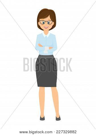 Cartoon Smiling Businesswoman With Arms Crossed On Chest.isolated On White Background. Vector Illust