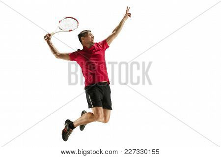 Swing And Kick. Player Throw In Flight, Attack, Ball Feed. Jump. Caucasian Man Playing Tennis At Stu