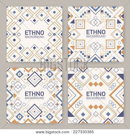 Collection Of Square Backgrounds With Traditional Geometric Aztec Ornaments, Decorative Frames Or Bo