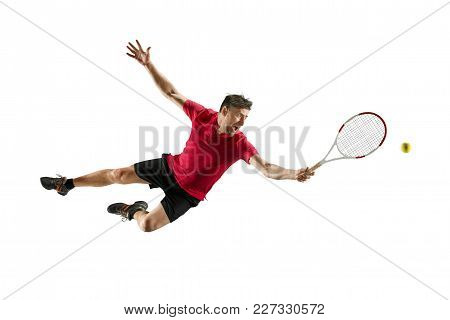I Am Saving This Ball. Player Throw In Flight, Defense. Jump. Caucasian Man Playing Tennis At Studio